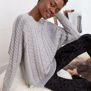 Aerie Brown Cable Knit Chunky Soft Knit Sweater